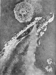 """HMS Gloucester heeling over hard starboard to avoid an attack by """"Stuka""""s of StG 2. - Together with the light cruiser Fiji and the destroyer Greyhound, Gloucester was attacked while in the Kythira Strait, about 14 miles north of Crete shortly before 14:00, 22nd May 1941."""