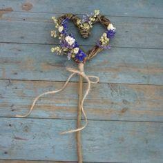 Provence Dried Flower Willow Heart Wand by EnglishFlowerFarmer Wedding Wands, Diy Wedding, Rustic Wedding, Dream Wedding, Wedding Ideas, Wedding Inspiration, Bridesmaid Bouquet, Wedding Bouquets, Wedding Flowers
