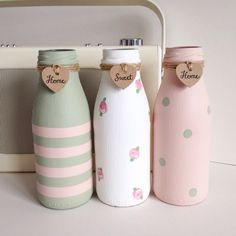 Set of three hand painted mini milk bottles by TillySage on Etsy https://www.etsy.com/ie/listing/241674264/set-of-three-hand-painted-mini-milk