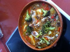 Stewed Rabit    Slowly cooked in a chicken stock with onion, tomato, pepper potatoes and broccoli,