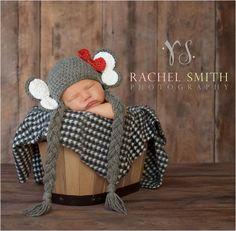 Crochet Elephant Hat, Earflaps, Crochet Bow, Newborn Baby, Toddler Sizes, Grey, Red Bow, Photo Prop via Etsy