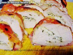 Peito de frango recheado com pesto e queijo de cabra