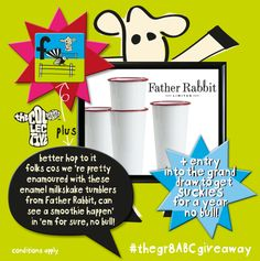 head on over to our Facebook page & be in to win some flippin' great stuff from Father Rabbit Limited! I mean, who wouldn't want a set of these fabo tumblers for their home, it's that plain and simple really! *terms+conditions apply. #thegr8ABCgiveaway