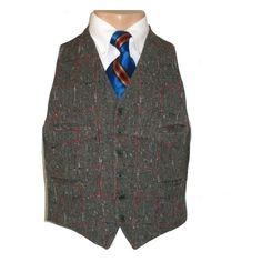 Mens Vintage 1930's Slate Tweed Plaid 6 Button Vest 36 | Mens Vintage Vests found on Polyvore