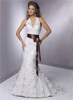 Halter Top Wedding Dress Lace V Neck Wedding by TavassoliDesigns