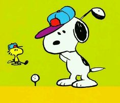 Snoopy at the tee Charlie Brown Quotes, Charlie Brown And Snoopy, Snoopy Images, Snoopy Pictures, Classic Cartoon Characters, Classic Cartoons, Golf Drawing, Sports Theme Classroom, Snoopy Cartoon