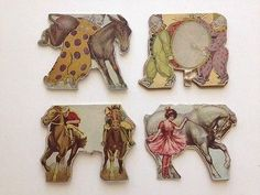 Antique Vintage 1890's-1900's Circus Animals Cut Outs Stand Up Paper Toys Dolls on eBay!