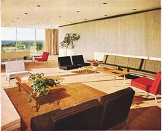 Chapter 28 - Geometric Modern - Knoll interior. Suspended grid ceiling, plain straight casement draperies, boxy chairs, wall to wall carpeting