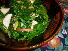 Baby Kale Salad with Fall Fruits, Pecans and Candied Ginger