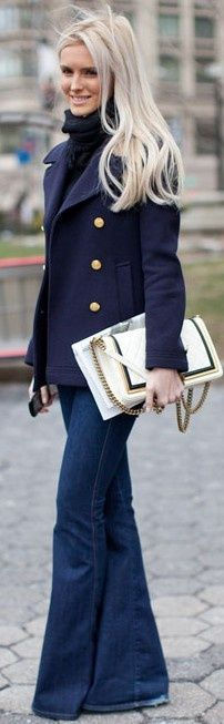 Gorgeous fall #outfit with peacoat, black turtleneck and denim. #style #fashion