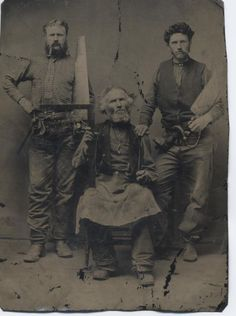 Tintype of a Carpenter and sons