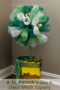 DIY a Deco Mesh Topiary for St. Patrick's Day. CraftsnCoffee.com