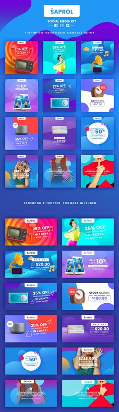 Saprol Social Media Kit by BazicLab on @creativemarket