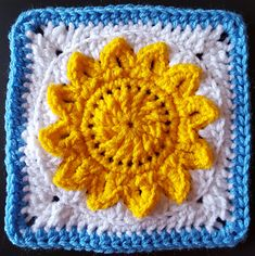 Ravelry: Partly Sunny Afghan Square pattern by Stacey LW Lee Crochet Bunting, Crochet Blocks, Crochet Squares, Crochet Granny, Crochet Motif, Free Crochet, Crochet Square Patterns, Knitting Patterns, Granny Square Blanket