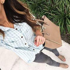 """Alyson Haley on Instagram: """"I liked the color combo in today's #ootd ... It kind of matched the sky's indecision between light blue and gray ☁️ You can shop it by entering this direct link in your web browser: www.liketk.it/1N9Jo #liketkit @liketoknow.it #whatiwore #stylefile #gingham #fallstyle 