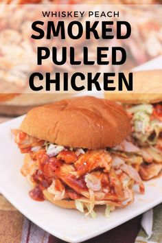 Whiskey Peach Smoked Pulled Chicken is tender, flavorful, and incredibly simple on your smoker!