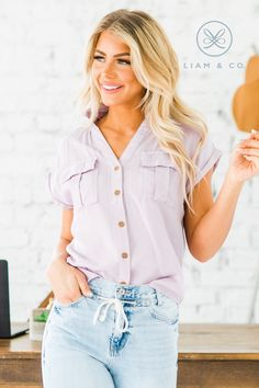 We're bringing it back to the basics with our Wynn Double Pocket Button Up Top! Our top features short cuffed sleeves, two front pockets, a collar, and a v-neck button up fit! The fabric of our top is so soft and comfortable, we love it layered under a chic blazer or on its own with a classic pencil skirt!