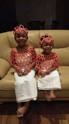 Just a couple of  fab flower girls in traditional edo attire, Nigerian wedding
