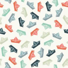 Illustration of Seamless pattern with color paper boats. Vector illustration vector art, clipart and stock vectors. Boat Illustration, Pattern Illustration, Boat Wallpaper, Pattern Wallpaper, Kids Prints, Baby Prints, Pattern Images, Pattern Design, Origami Boot