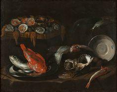 Giovanni Battista Recco (Italian, born c. 1631, dead 1674 or 1676, dead 1674 or 1676), Still Life with Fish and Oysters, 1653. Oil on canvas, 100 x 126. NM 759. Photo: Erik Cornelius/Nationalmuseum.