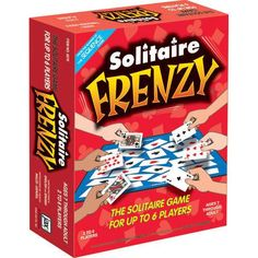 Solitaire Frenzy Board Game: It's Solitaire vs. Solitaire in this exciting, fast-paced card game for the whole family. You play your cards much like Solitaire except you play against your opponents. As the aces get played on the game board, the action heats up!  $21.99  http://www.calendars.com/Card-Games/Solitaire-Frenzy-Board-Game/prod200400006905/?categoryId=cat430010=cat430010#