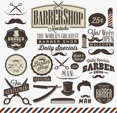 Collection of vintage retro grunge barber shop labels by Noka Studio, via ShutterStock Barber Man, Barber Logo, Barber Straight Razor, Straight Razor Shaving, Grunge, Vintage Signs, Retro Vintage, Vintage Fonts, Barber Shop Quartet