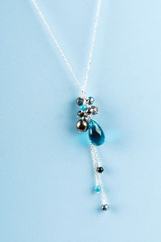 Blue Topaz and Pearl necklace - £18 Only 1 remaining!