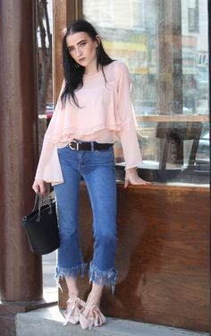 Pretty in Pink! YES, YES, YES! Spring time in New York City.  Flute Crinkle Sleeve Top: Topshop |  Petite Frayed Hem Kick Flare Jeans: New Look | Bucket Bag in Black: Fanaberie | Lace Up Ballet Flats in Pink: Lipsy London