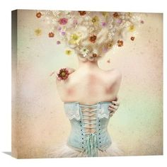 """Global Gallery 'Girl Of The Flower Garden' by Kiyo Murakami Graphic Art on Wrapped Canvas Size: 22"""" H x 22"""" W x 1.5"""" D"""