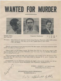 "Antique/Vintage Wanted Poster Of WANTED FOR MURDER 1940s Italian Gangster From Bronx, New York In 15""x12"" Floating Frame"