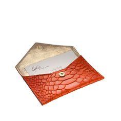 Envelope Card Case in Orange Embossed Python...