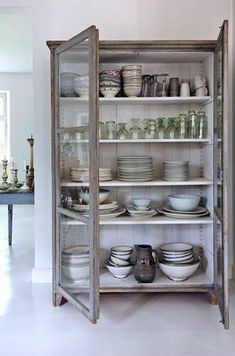 freestanding kitchen cabinets, kitchen storage ideas, furniture in the kitchen, … - Furniture Ideas Free Standing Kitchen Cabinets, Kitchen Pantry Cabinets, Glass Cabinets, Display Cabinets, Kitchen Display Cabinet, Kitchen Armoire, Kitchen Shelves, Glass Shelves, Hutch Display