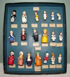 "Hertwig Factory Sample Box with 19 ""Tinies"" & Wedding Party from aquietplace on Ruby Lane Half Dolls, Tiny Dolls, Antique Dolls, Vintage Dolls, Minis, Sample Box, Toy Rooms, Bisque Doll, Toys Shop"