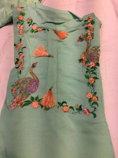 Colors & Crafts Boutique™ offers unique apparel and jewelry to women who value versatility, style and comfort. We specialize in customized attires crafted in high quality fabric and craftsmanship. Please note: These are not our designs. We can custom make Embroidery On Kurtis, Kurti Embroidery Design, Embroidery Suits, Machine Embroidery, Simple Embroidery, Modern Embroidery, Beaded Embroidery, Embroidery Patterns, Salwar Designs