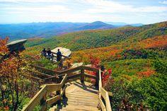 Fall Hike on Rough Ridge along the Blue Ridge Parkway near Grandfather Mountain, North Carolina