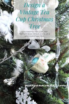 Feather and Tea Cup Christmas Tree - What Meegan Makes Christmas Tree Feathers, Unique Christmas Ornaments, Christmas Music, Christmas Design, Christmas Holidays, Christmas Wreaths, Christmas Crafts, Christmas Bulbs, Christmas Decorations