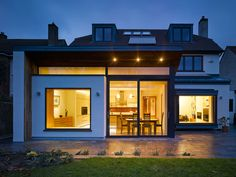 Home Remodel and Extension Project with Stunning Rear Side Design: Contemporary House Exterior Extension House Extension Plans, Roof Extension, Building Extension, Kitchen Extension Ideas Ireland, Flat Roof Skylights, Dublin House, Regency House, Patio Tiles, House Extensions