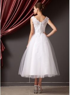 A-Line/Princess V-neck Tea-Length Lace Beading Flower(s) Sequins Zipper Up Regular Straps Sleeveless Hall Reception General Plus Spring Summer Ivory Organza Tulle Wedding Dress