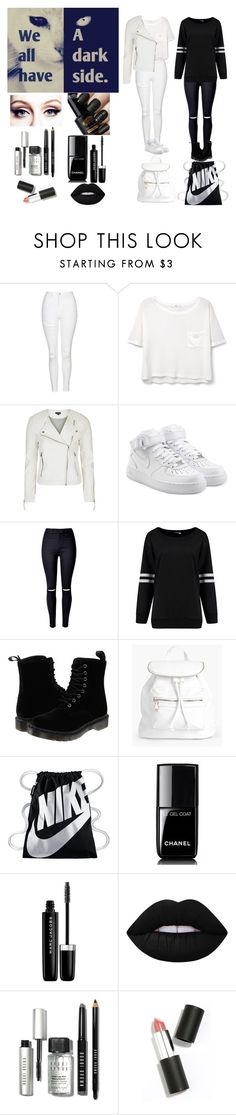 """""""We all have a dark side"""" by mm2004 ❤ liked on Polyvore featuring Topshop, MANGO, NIKE, WithChic, Dr. Martens, Boohoo, Chanel, Marc Jacobs, Lime Crime and Bobbi Brown Cosmetics"""