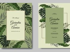 Wedding invitation card template set with tropical leaves by MARIA NURINCE DOMINGGAS on Dribbble #Freepik #adobestock  #vector #flower #frame #wedding #watercolor #leaves #colourful #tropical Wedding Invitation Card Template, Wedding Invitations, Grass Valley, Watercolor Leaves, Job Opening, Silver Spring, Tropical Leaves, Flower Frame, Leaf Design