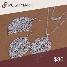 925 Silver Plated Jewelry Set Fashion 925 Silver Plated Jewelry Set Hook Earings Eardrop Necklace Skeleton Big Leaf. Jewelry