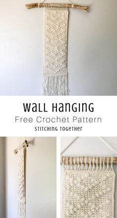 Quickly Upgrade Your Space with this Modern Crochet Wall Hanging Looking to add gorgeous textiles to your walls? This modern crochet wall hanging is a quick way to Diy Crochet Wall Hanging, Crochet Wall Art, Macrame Wall Hanging Patterns, Crochet Wall Hangings, Yarn Wall Art, Yarn Wall Hanging, Crochet Decoration, Crochet Home Decor, Modern Crochet Patterns