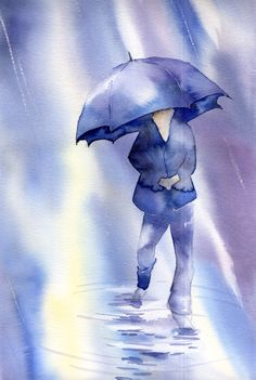 Walking in the rain. Umbrella Art, Under My Umbrella, Blue Umbrella, Walking In The Rain, Singing In The Rain, Art Et Illustration, Illustrations, Rain Art, Painting People