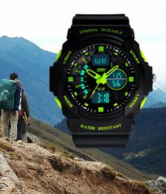 Green Mens Outdoor Military Sport Wrist Watches;Simple mechanical watch with steampunk fashion design. Transparent dial with skeleton design gives you the most fashionable point of view. Stainless steel watch case back makes the watch more durable.