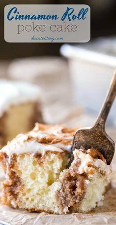 Cinnamon Roll Poke Cake - tender white cake filled with buttery cinnamon-sugar filling and rich cream cheese frosting! #dessert #cake #pokecake #cinnamonroll #cakemix #recipe #ihearteating