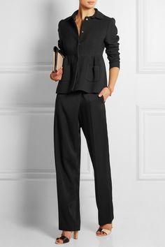 Rochas black crepe peplum jacket
