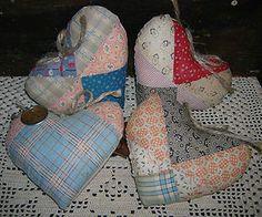 Antique patchwork hearts