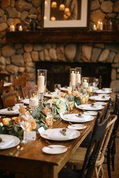 Snowy Destination Wedding in Beaver Creek, Colorado - Rustic Reception Tables