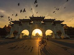 Birds take flight in a golden sky over the National Chiang Kai-shek Memorial Hall in Taipei, Taiwan, in this National Geographic Photo of the Day.
