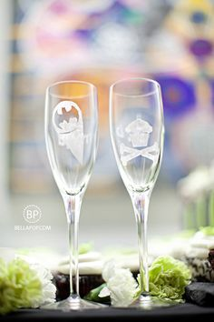 custom toasting glasses (batman for him / cupcakes for her!) - such an awesome idea...these people must be awesome! ;)
